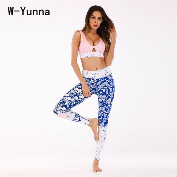 W-Yunna Hot New Floral Printed Yuga Pants Female High Quality Bra Legging Tracksuits Fitness Exercise Suits Workout Women Sets