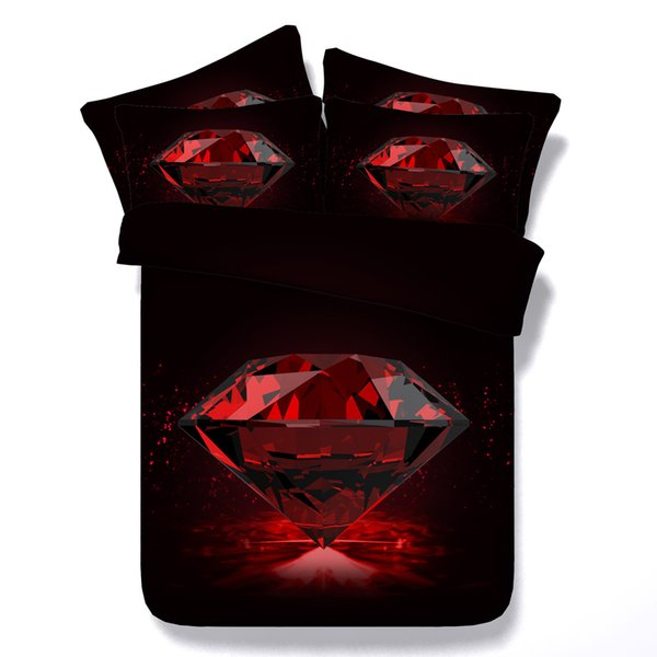 3d red diamond Duvet Cover wedding bedding sets queen romantic Bedspreads Holiday Quilt Covers Bed Linen Pillow Covers for women girls adult
