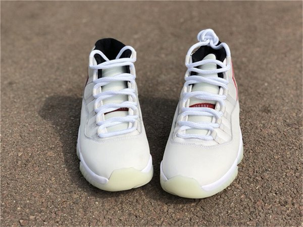 56cdca8a0e51de 2018 Release Authentic 11 Platinum Tint 11S Red Gery White Men Basketball  Shoes 378037-016