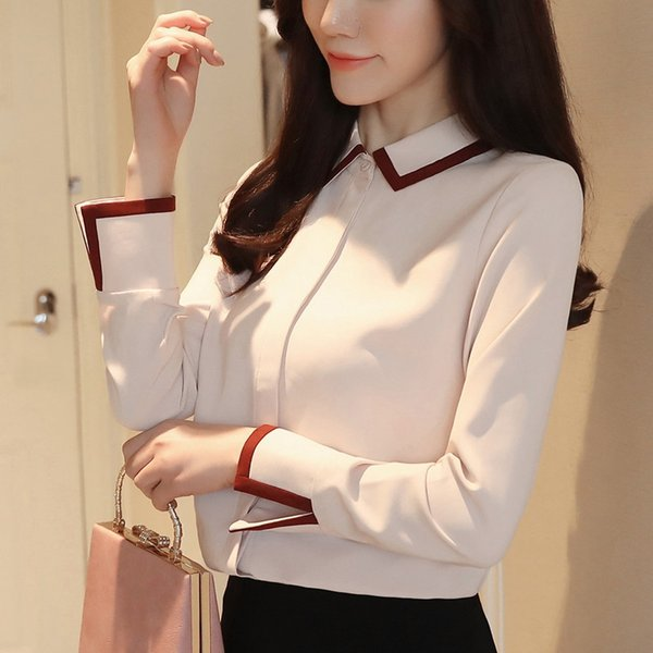 Shirt female Han fan 2018 spring dress new professional white long sleeve temperament scheming chiffon shirt design
