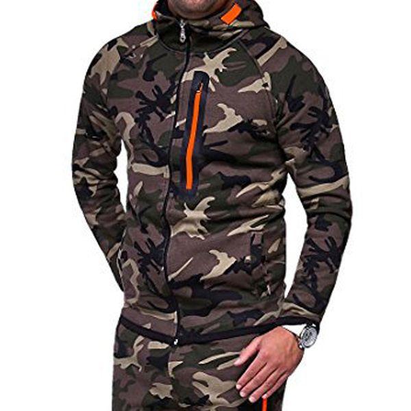 2018 Nouveaux Hommes Camouflage Hoodies Sweats Mens Zipper À Capuche Manteau Manteau Hip Hop Camo Survêtement Hoodies Sportswear M-3XL