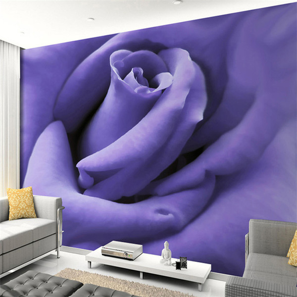 Custom 3D Photo Wallpaper Modern Designs Purple Rose Flower Mural Living Room Bedroom Photography Background Wallpaper Murals 3D