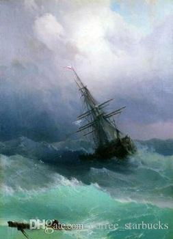 Ivan Aivazovsky - Tempest seascape waves ship,Perfect Hand-painted Seascape Art oil painting On Canvas Multi Sizes Sc09