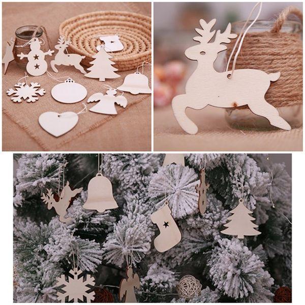 2018 New Christmas Xmas Tree Ornaments Decorazioni di Natale FAI DA TE Natale Fiocchi di neve Albero di cervo Ornamenti appesi in legno Regali per bambini