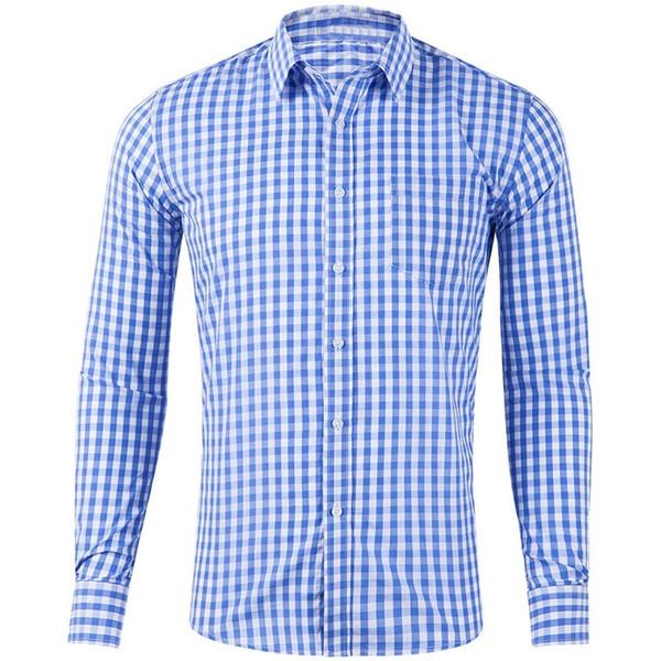Brand Autumn Social Shirt Men Fashion Plaid Mens Dress Shirts Casual Long Sleeve Slim Fit Business Shirt High Quality Clothes