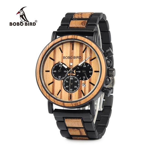 BOBO BIRD Marca Metal Madera Hombres Reloj Cronógrafo Movimiento de Cuarzo Reloj de pulsera Calendario Logotipo del Reloj Personalizar U-P09