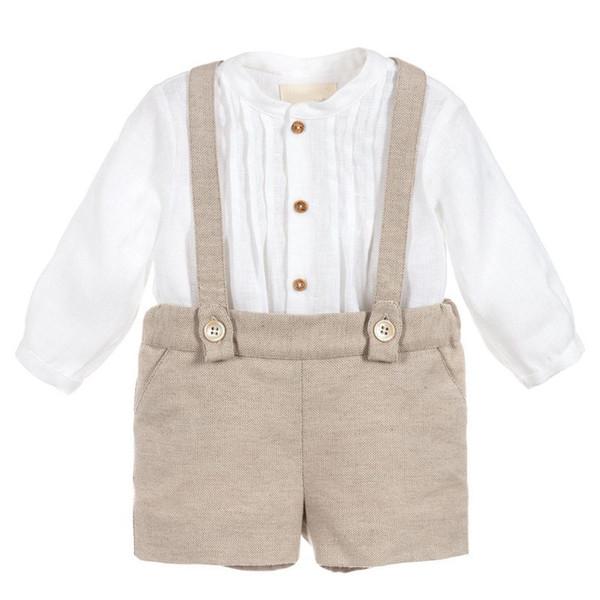 Marke Baby Boy Kleidung Set Jungen Poly Cotton Taufe Taufe Spielanzug Outfit Langarm-shirt Kurz Overalls Geburtstag
