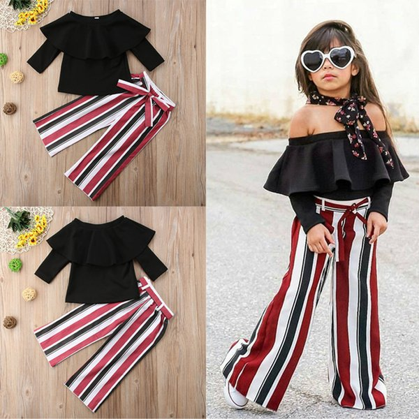 New Baby Girls Sets Fashion Off Shoulder Top+lace-up Bows colorful stripes Wide Legged Pants 2pcs Set Girls Clothing Toddler Boutique Costum