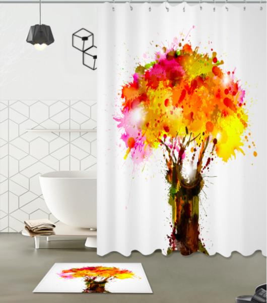 Wohnkultur 3D Duschvorhang Handgefertigte Rote Landschaft Baum Muster Moderne Landschaft Wasserdichte Zeitgenössische Stil Vorhänge fußmatten sets