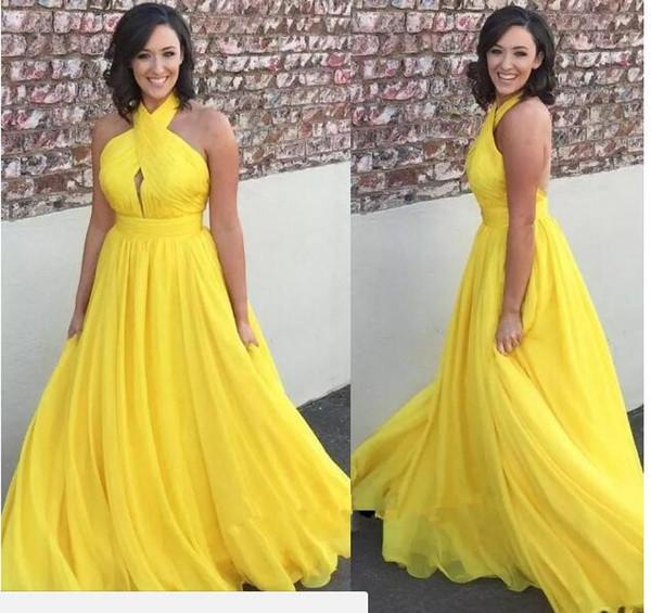 Chiffon lungo giallo brillante prom dresses 2018 halter keyhole aperto indietro sexy abiti da cocktail party abiti da sera