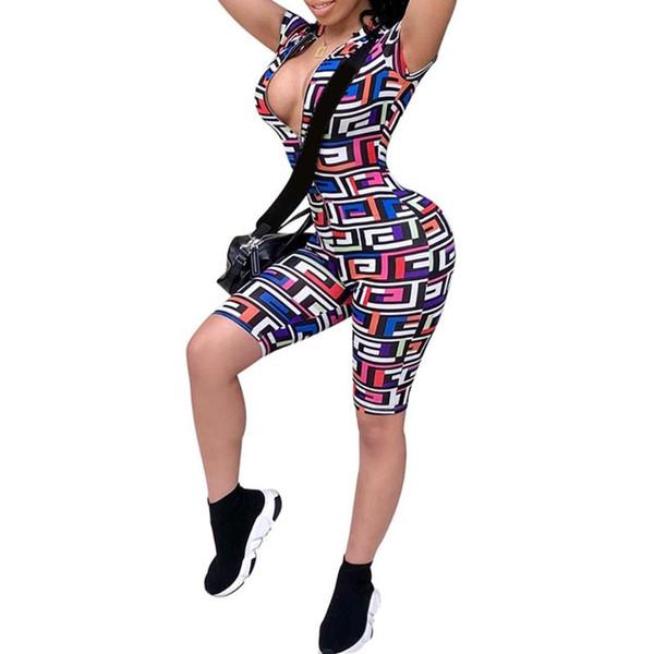 Boho Geometry Printed Womens Jumpsuit 2018 Hot Summer Sexy Deep V-Neck Zipper Bodycon Bodysuits Overalls combinaison femme