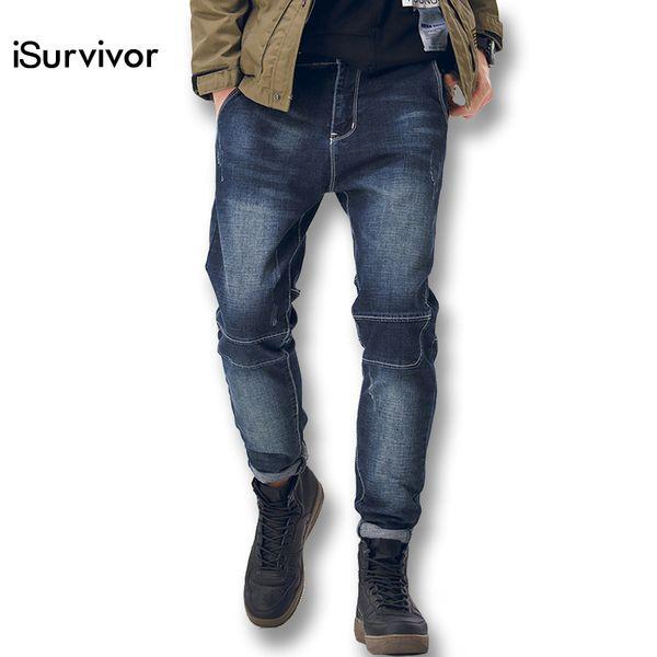 iSurvivor 2018 Men Denim Jeans Harem Pencil Pants Trousers Male Casual Slim Fitted Spring Fashion Pants Hombre Outwear Jeans Men
