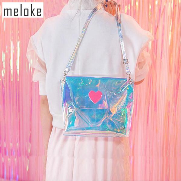 Meloke 2018 Small Ladies Bags Women Shoulder Bag Clear Satchel Girls Summer lovely heart Crossbody Bag Mini Handbag MN584