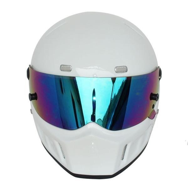 Protection supérieure Carbon Drag Bandit Casque de moto pour Simpson style Gloss Black Casque de moto intégral Face TAILLE 2XL XXL