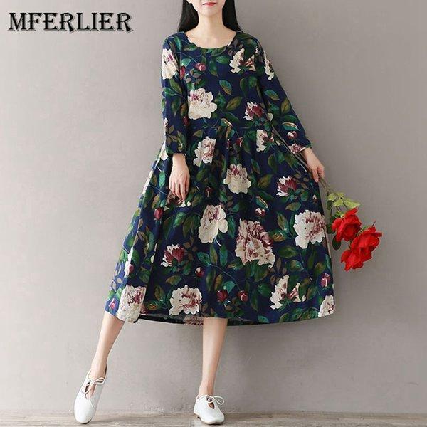 Mferlier Outono Inverno Floral Impressão Mulheres Vestidos O Pescoço Manga Comprida Cintura Alta Plissada Literatura Solta Casual Vestido