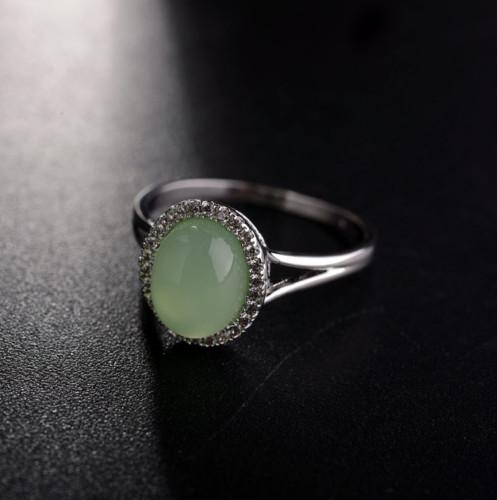 Wedding engagement anniversary clothes accessories Three Stone Rings 18k white gold filled green jade ring size 7 8 9