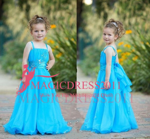2019 Sashes Blue Flower Girls Dresses Spaghetti Straps Beaded Chiffon Long Princess Lace Applique Baby Children Birthday Pageant Party Gowns