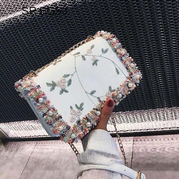 2019 moda spedizione gratuita rosa verde bianco ricami fiore signora donna in pelle tracolla Satchel borsa in PU