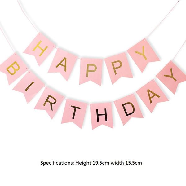 100pack 해피 생일 배너 골드 글자 파티 장식 Swallowtail 멧새 깃발 garland Pink Blue White MintBlack