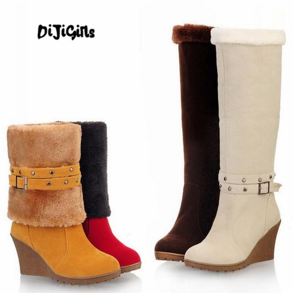 Fashion Frosted suede Women Wedge Heels Long Boots Woman Two ways of wearing Knee platform High Boots Size 34-43
