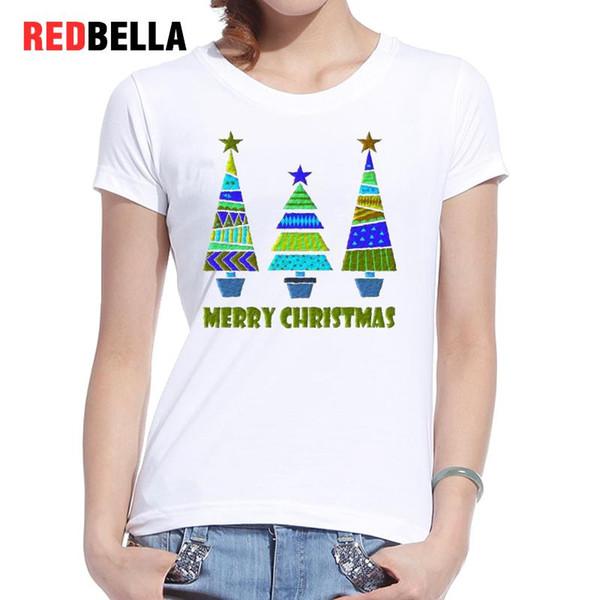 Women's Tee Redbella T Shirt Women White Cotton Vintage Printed Merry Christmas Trees Casual Tshirt Retro Design Cozy Funny Tumblr Clothing