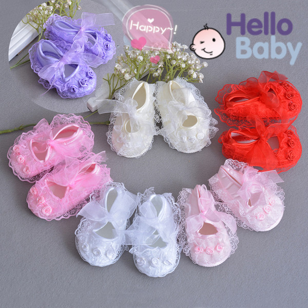 Newborn Baby Girl Shoes Lace Flower Soft Soled First Walker Infant Toddler Branded Booties Shoes for Girls Christening Baptism