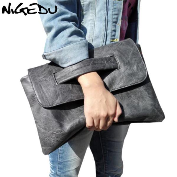 NIGEDU brand design women Clutches large PU leather Crossbody Bags for women Shoulder messenger bag Simple big Ladies handbag Y18102304