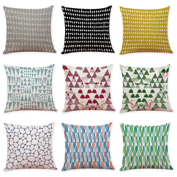 Creative Interior Geometric Linen Cushion Covers Home Office Sofa Fascinating Inexpensive Pillow Covers