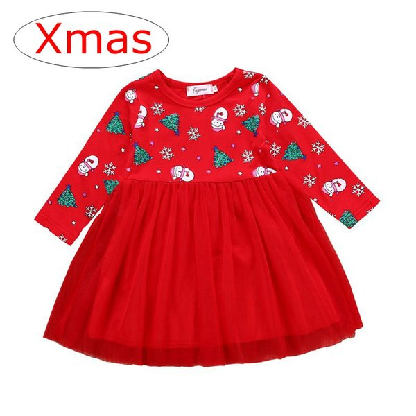 xmas christmas 2018 new red long sleeved girls snowman print party dresses kids cotton snowflake tutu dresses