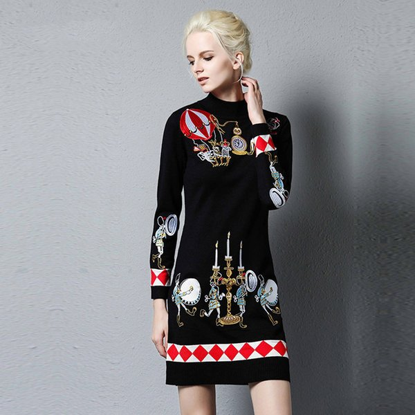 Royal broderie fleur pull chandail femmes robe automne hiver piste de luxe élégant dame en laine pull femme S-XL