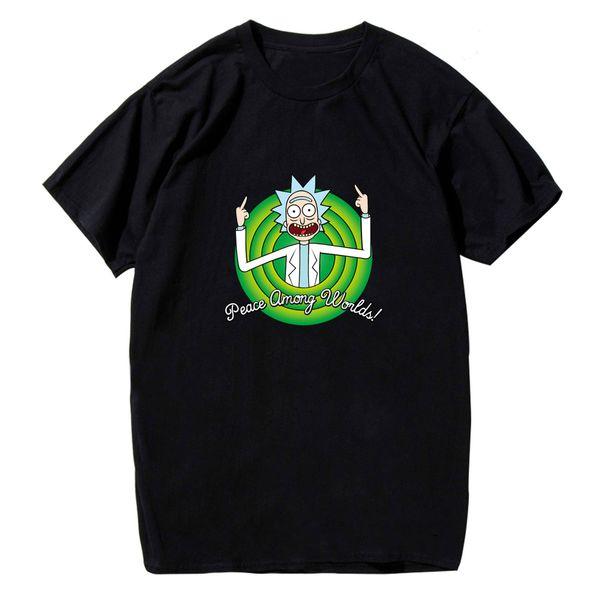 New Rick & Morty Peace Among Worlds Funny Men T-Shirt Short Sleeve Tee Tops Print T Shirt Mens Short Sleeve Hot top tee