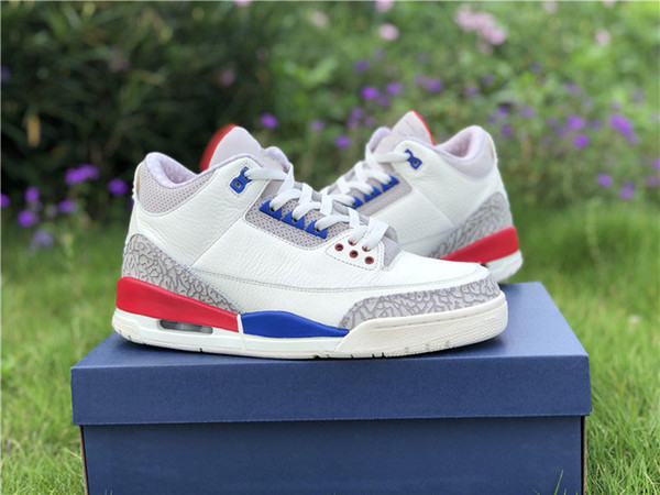 buy online 2b6ff 5b533 2018 Release 3 Charity Game Usa White Cement Blue Red 3s Basketball Shoes  Sneakers For Men Authentic Quality With Box 136064 140 From Bravebean, ...