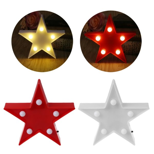 3D Marquee Stars Table Lamp 5 LED Battery Operated Night Light Children's Room Decor