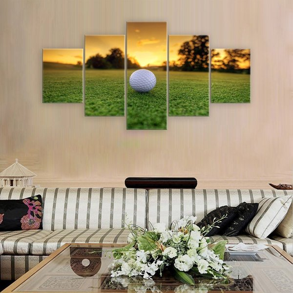 5 Panel Canvas Modern Wall Art Golf Backgrounds Painting Posters and Artwork HD Prints Pictures Decor for Living Room Unframed