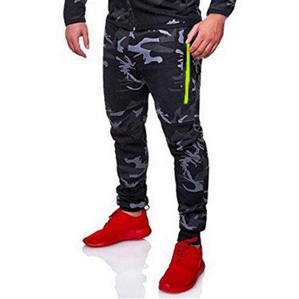 Homens Zipper Camuflagem Correndo Calças Apertadas Masculino Corredor Harem Pants Masculino Solto Esporte Calças de Fitness Jogger
