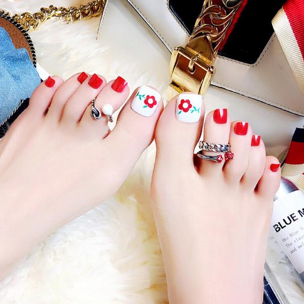 24 pcs Verão Beleza Toe Nails Flor Artificial Design Para Pé Prego de Alta Qualidade Pé Falso Prego Novo