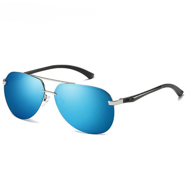Silver frame+blue lenses