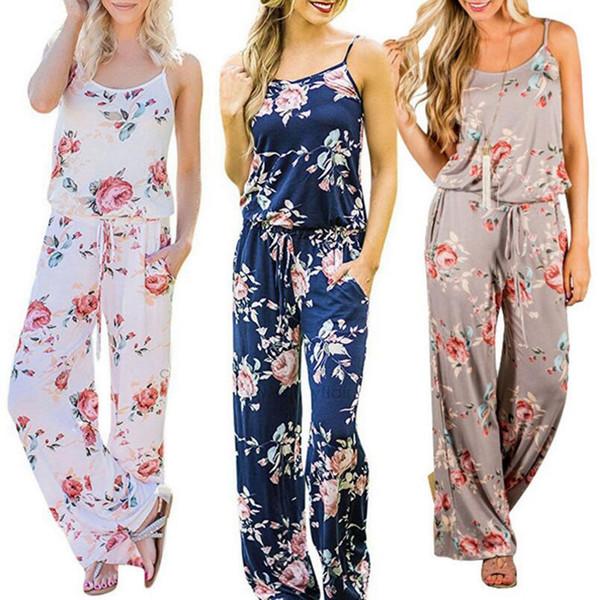 Mujeres correa de espagueti estampado floral mameluco mono sin mangas Beach Playsuit Boho verano monos pantalones largos 3 colores OOA4330