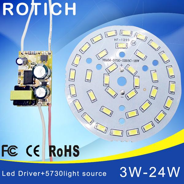 3W 7W 12W 18W 24W 36W 5730 SMD Tablero de luces Panel de lámpara Led para techo + CA 100-265V LED fuente de alimentación controlador