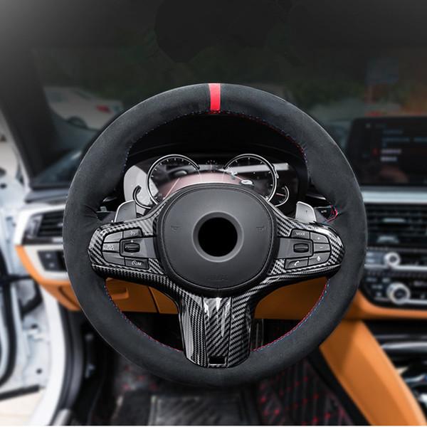 Karbon Fiber Stil ABS Araba Merkezi Konsol Direksiyon Çerçeve Dekorasyon Kapak Trim BMW 5 Serisi G30 G38 2018 Için