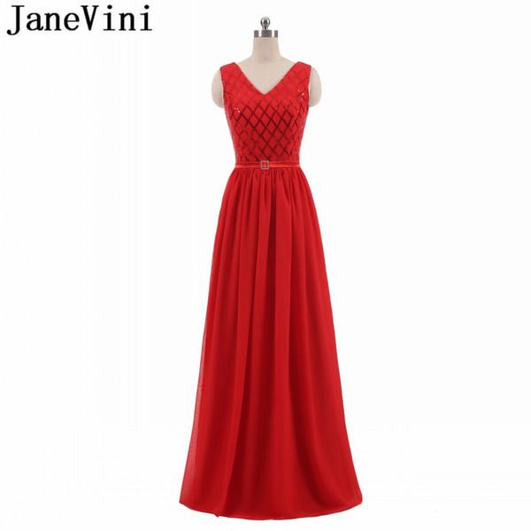 Compre Janevini Vestidos De Noche De Lentejuelas Rojos Largos Vestidos Largos Para Fiesta De Graduación 2018 Gasa Con Cuello En V Bling Vestidos De