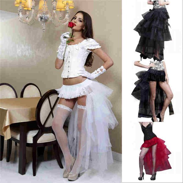 2019 Gothic Party Short High Low Prom Dress Cocktail Dress Tutu Women Fashion Caroline Petticoat Underskirt Cheap CPA1015