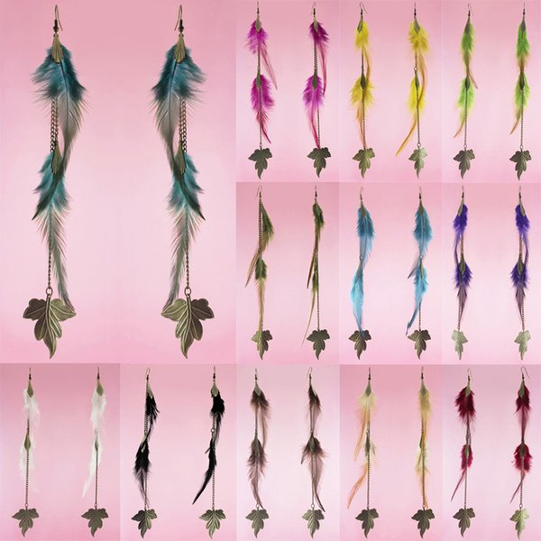 Downy Feather Earrings 12 Colors wholesale lots Leaf Long Chain Light Dangle Eardrop Hot ( Burgundy Deep Pink Yellow Green Black ) (JF117)