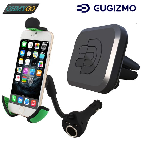 Universal Car Mount Dual USB Charger Cigar Socket Holder Cradles + Vehicle Air Vent Magnetic Vent Mount for IPhone Samsung Lenovo Huawei