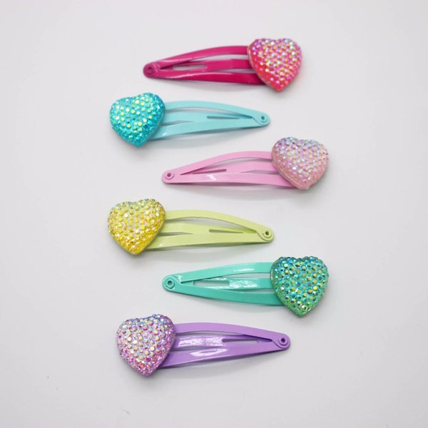 Wholesale 6 pcs/lot glitter heart hair clips beautiful 4cm hairpins fashionable hair accessories for little girls barrettes