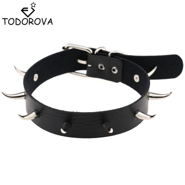whole saleTodorova Chic Punk Rock Gothic Unisex Women Men Leather Silver Spike Rivet Stud Collar Choker Necklace Statement Jewelry