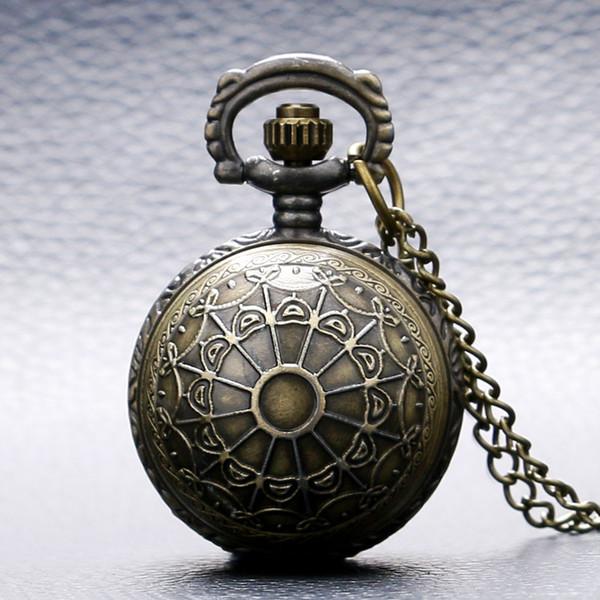 Fashion Bronze Copper Spider Web Design Small Size Ball Shape Quartz Pocket Watch Women Men Necklace Xmas Gift