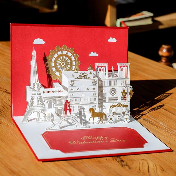 (10 unidades / lote) Top Class 3D Pop Up Pareja Tarjeta de invitación de boda Tarjeta de regalo de San Valentín roja Ferris Wheel Castle Card G1036R
