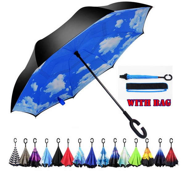 best selling Rainproof Windproof Reverse Folding Double Layer Inverted Chuva Umbrella With Bag Self Stand 39 Colors C-Hook Hands Umbrellas For Car
