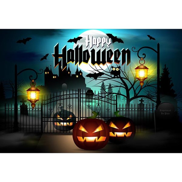 Happy Halloween Backdrop Full Moon Night Bat Tree Iron Gate Pumpkin Lanterns Kids Children Castle Party Photo Booth Background